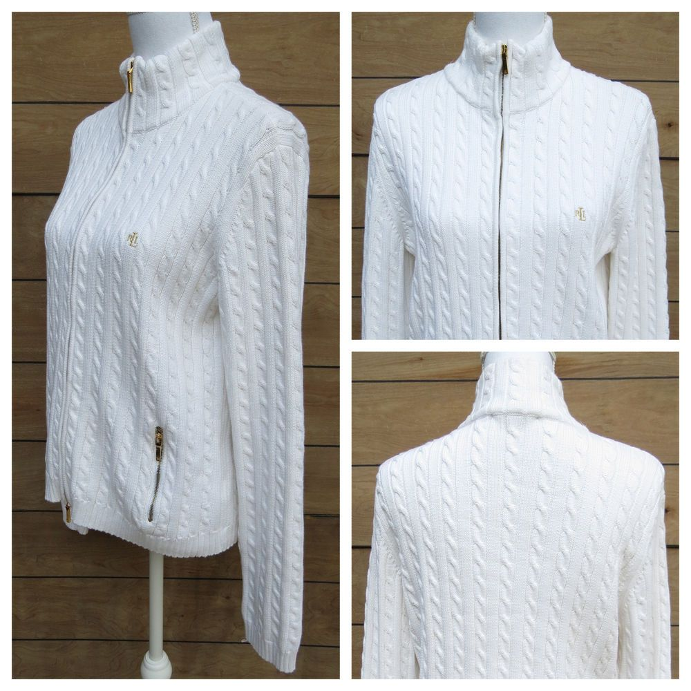 Ralph Lauren Cable Knit Cardigan Sweater White Full Zip Gold ...