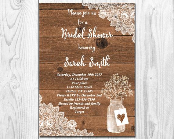 rustic bridal shower invitationmason jar invitation wood background watercolor baby breath