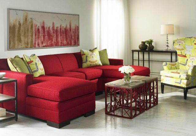 Une déco de salon avec du tempérament chaud en rouge Salons