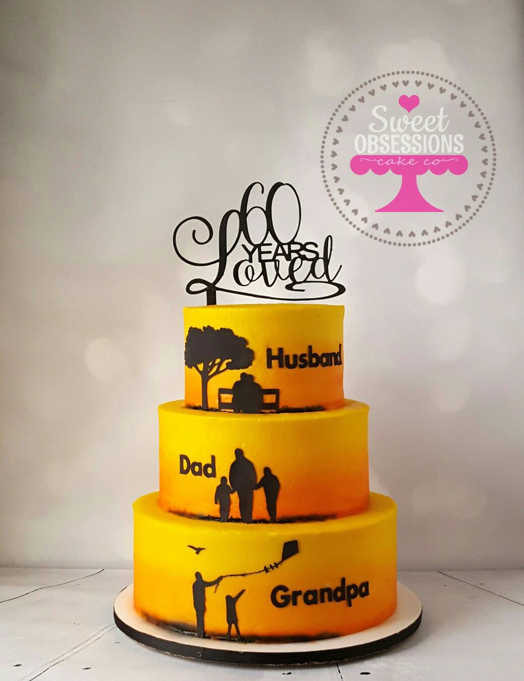 Silhouette Birthday Cake With Sunset Background Www