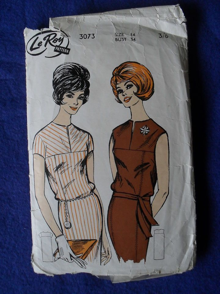 VINTAGE LE ROY SEWING PATTERN - LADY'S DRESS WITH YOKE - SIZE 14