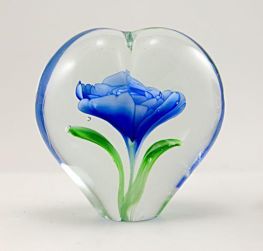 Retro Art Glass Big Heart With Enclosed Glass Flower Paperweight Glass Paperweights Paperweights Glass Art