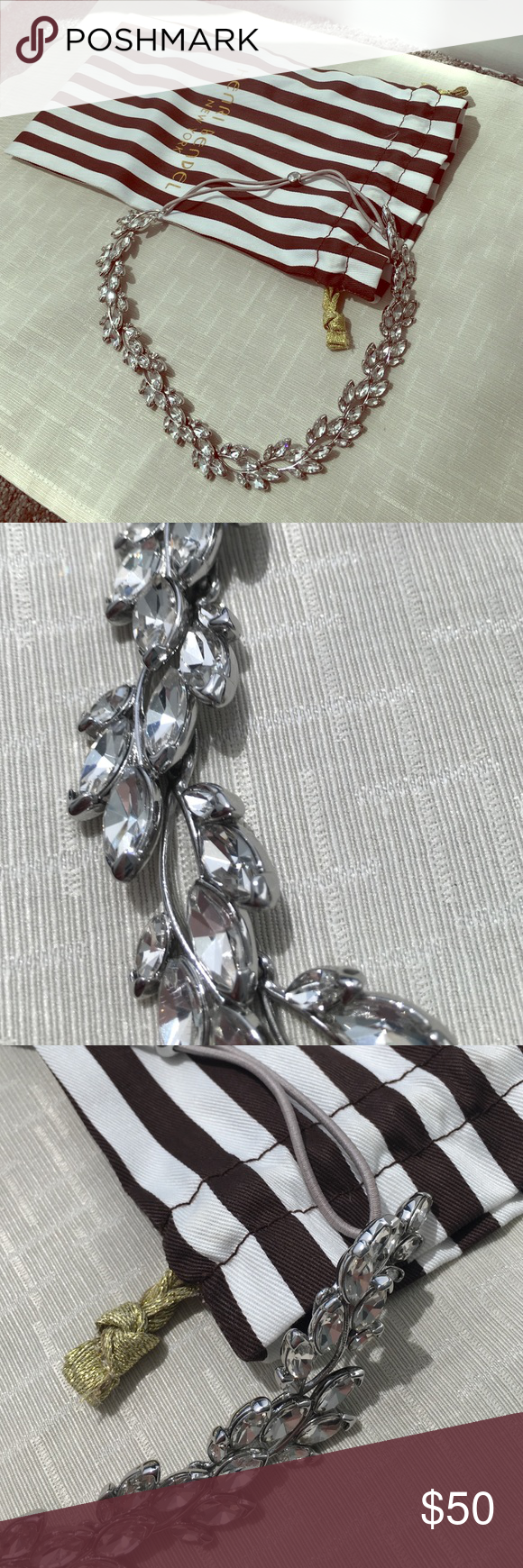 Henri Bendel Headband Tiara This headband/wrap has crystal detail leaves and an elastic band at the back to secure in place. Would look stunning for a bride or prom. Comes with Henri Bendel striped pouch. Worn once. henri bendel Accessories Hair Accessories