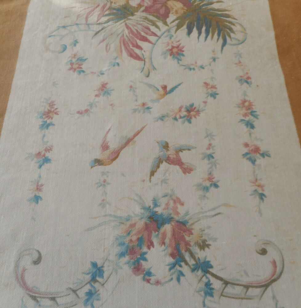 Antique French 19th Art Nouveau Floral Cotton Furnishings Fabric ~Green Red Gold