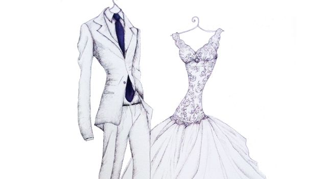 Wedding Dress & Grooms Suit Portrait Drawing by Appleberry Press ...