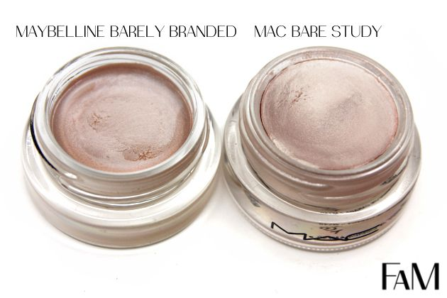 Mac Paintpot Bare Study Vs Maybelline Barely Branded Color Tattoo Metal Review And Swatches Maybelline Maybelline Color Tattoo Makeup Dupes
