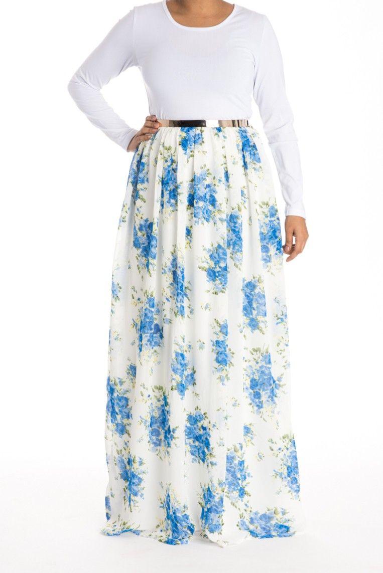 Blue skies floral dress modest maxi dresses pinterest