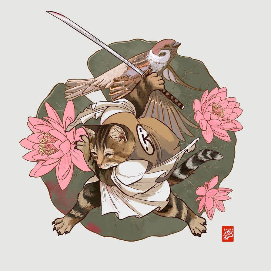 Классные картинки кота самурая, картинки