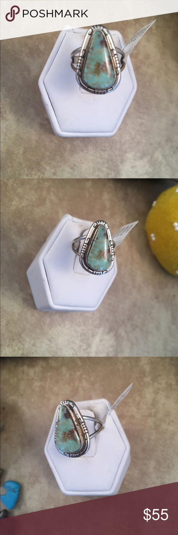 Navajo Dry Creek Turquoise Ring Size 7 This is a wonderful piece made by Scott Skeets it is made of Sterling Silver and Dry Creek Turquoise. This ring is size 7 and is right at 7/8 of a inch long and just under 5/8 of a inch wide. This piece is signed by the artist and stamped sterling.   Please contact me with any questions and thank you for looking. Jewelry Rings