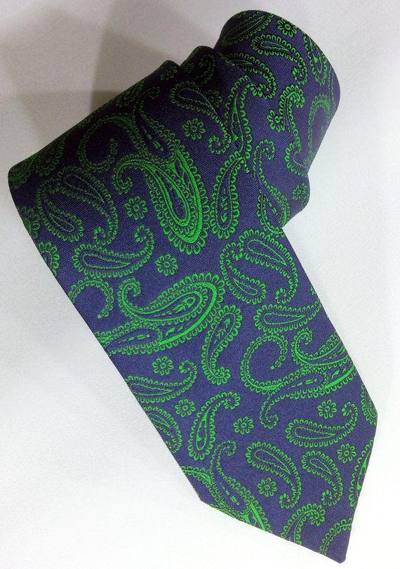 85d73be80768 Men's Tie Dark Blue and Green Necktie Dark Blue and by PeraTime  #handmadeatamazon #nazodesign