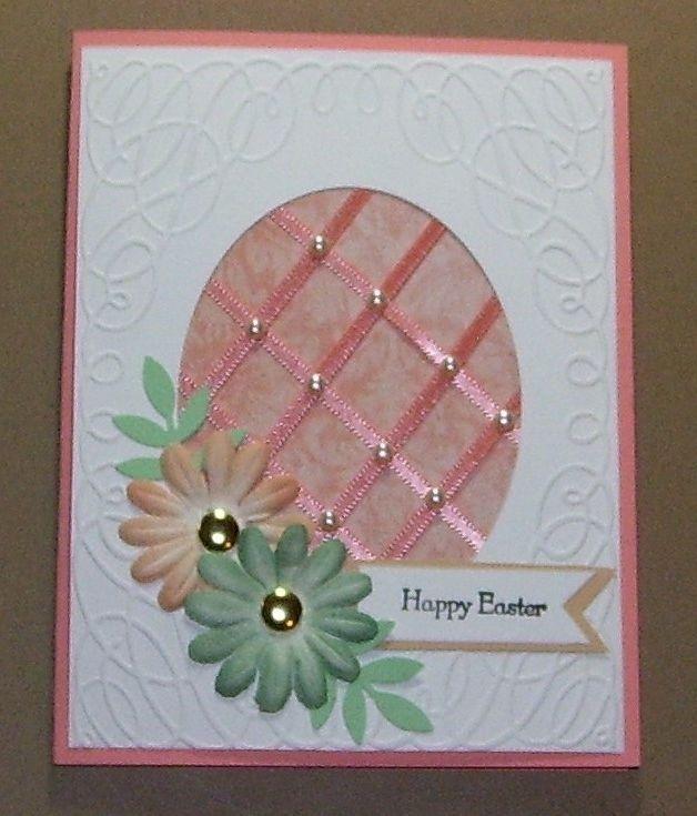 Handmade Easter Greeting Card Stamped Peach Lattice Egg Easter