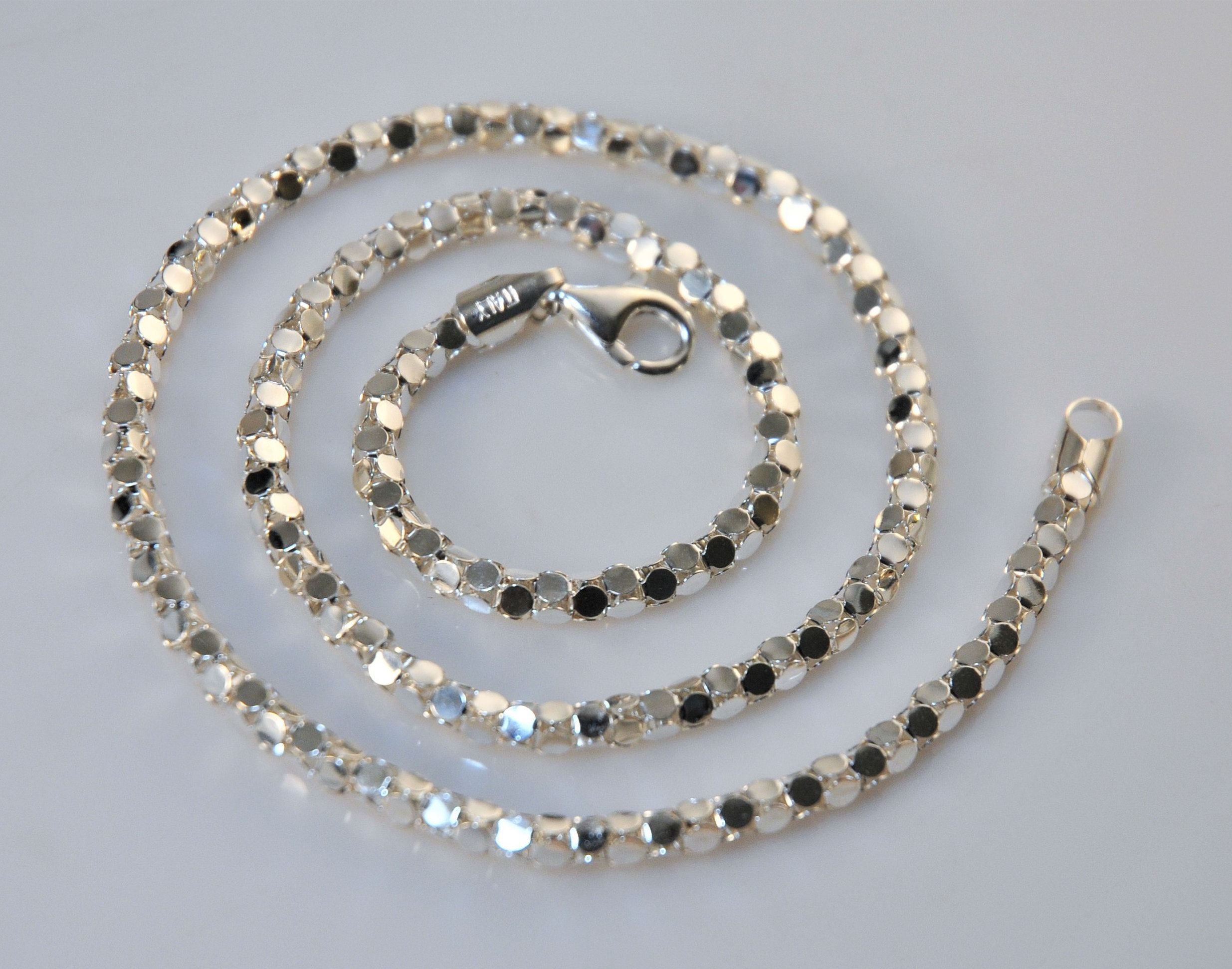 925 Sterling Silver Italy Milor Oval Style Chain Necklace 18