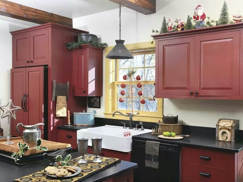 I Love This Kitchen Especially The Cranberry Colored Cabinets