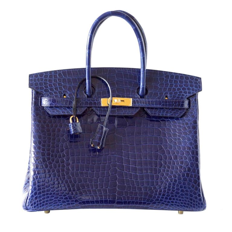 Hermes 35cm Blue Roi Crocodile Birkin Bag 469e560a871ec