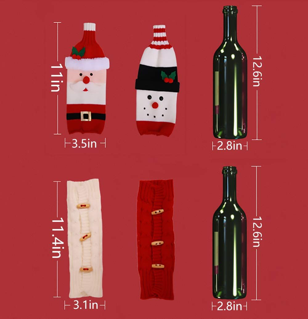 Christmas Wine Bottle Cover Knitted Wine Sweaters Cover Dress Xmas Dinner Table Dec Christmas Wine Bottle Covers Christmas Wine Bottles Xmas Dinner Table Decor