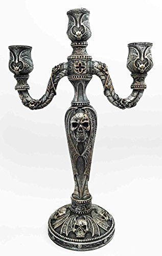 Skull Bronze Statue Gothic Design Candle Holder Sculpture Spooky Decor Figurine