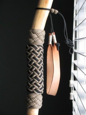 Leather Wrist Strap On A Paracord Wrapped Hiking Stick