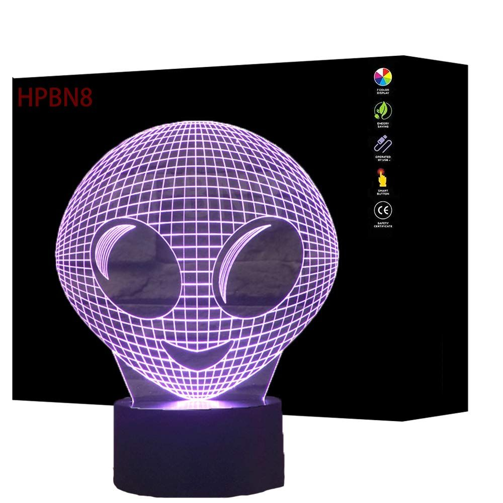 Alien Lampe Fur Das Weltraumzimmer Dieses Coole Nachtlicht Erzeugt Eine Tolle 3d Illusion Tolle Deko Fur D Farbwechsel Spielzimmer Inspiration Kinder Lampen