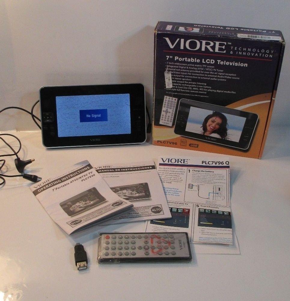 viore 7 u201d portable lcd digital tv plc7v96 rechargeable euc w box rh pinterest ca