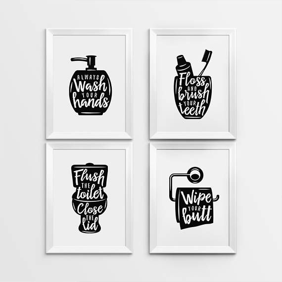 Bathroom Wall Art Decor Part - 18: Bathroom wall decor, Printable Art, Gallery prints set of 4, Wash hands  sign, Brush teeth sign, Flus