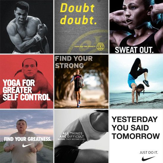 Good Advertising Works Motivational Ads That Get Us To The Gym Fun Workouts Advertising Words Good Health Quotes