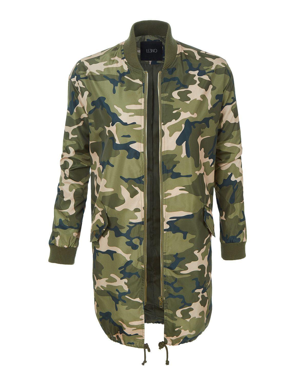 LE3NO Womens Lightweight Camo Print Long Parka Bomber Jacket  f9e8d1f258