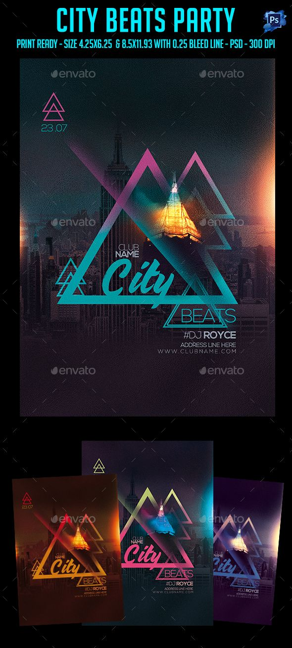 City Beats Party Flyer Party flyer, Psd templates and Template - Sample Address Book Template