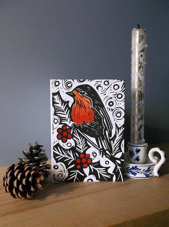 robin christmas linocut card  print christmas card