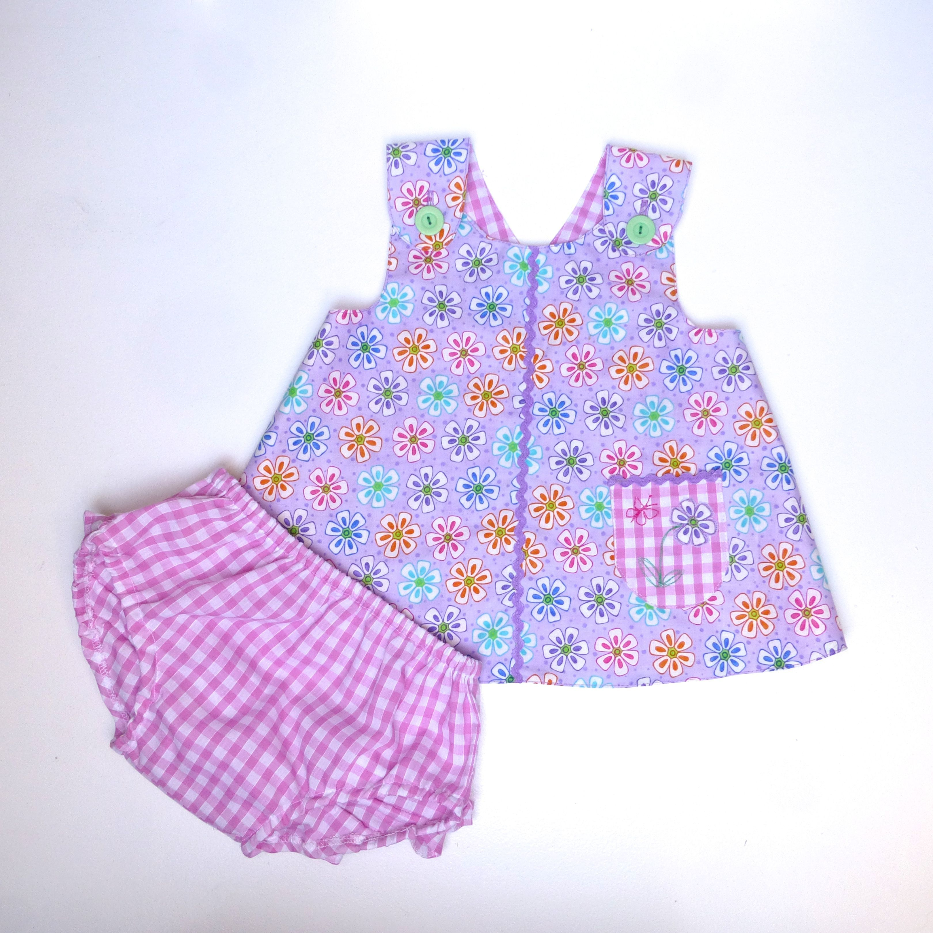 Toddler Baby Wrap Over Dress And Frilly Pants Diaper Cover Link To