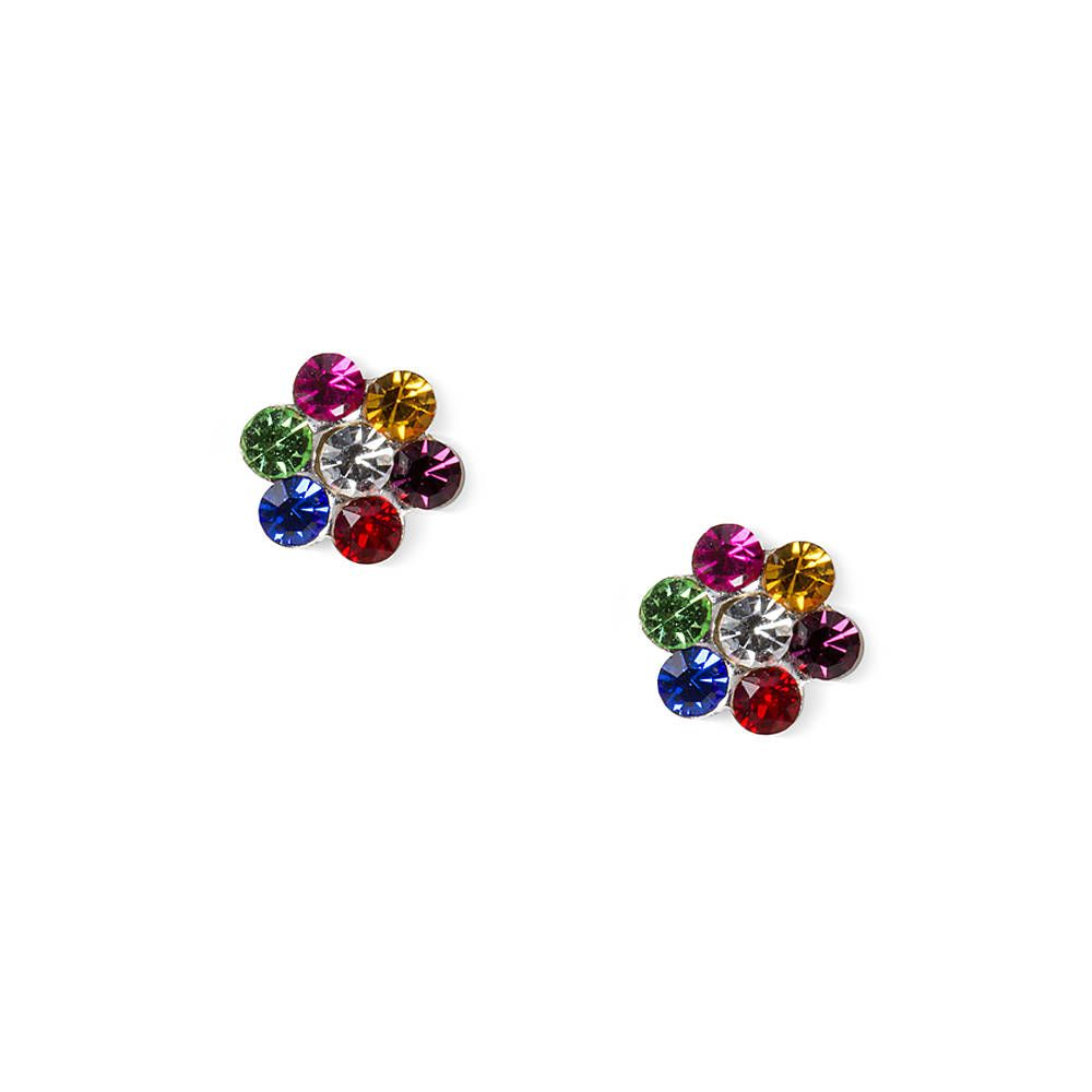 bd01a2fd8 Sterling Silver Rainbow Crystal Flower Stud Earrings | Claire's ...