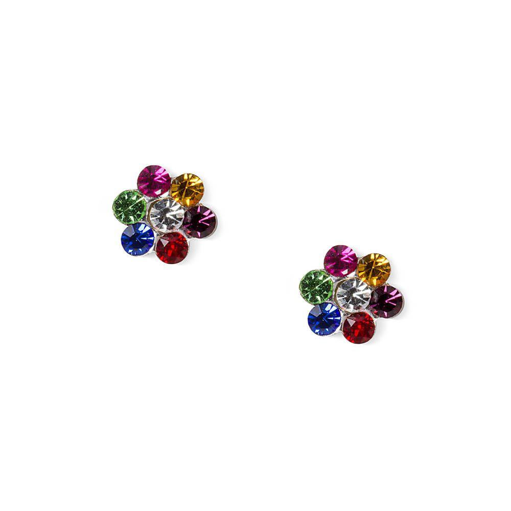 Sterling silver rainbow crystal flower stud earrings