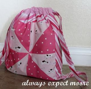 draw string back pack made from four fat quarters