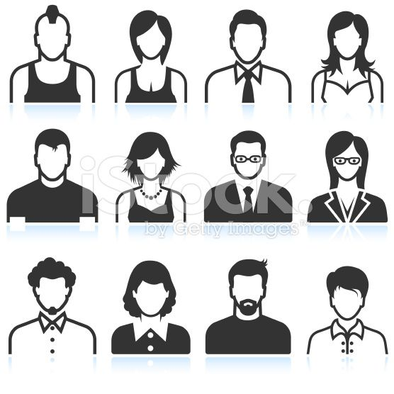 Black and white men and women icons royalty-free stock vector art