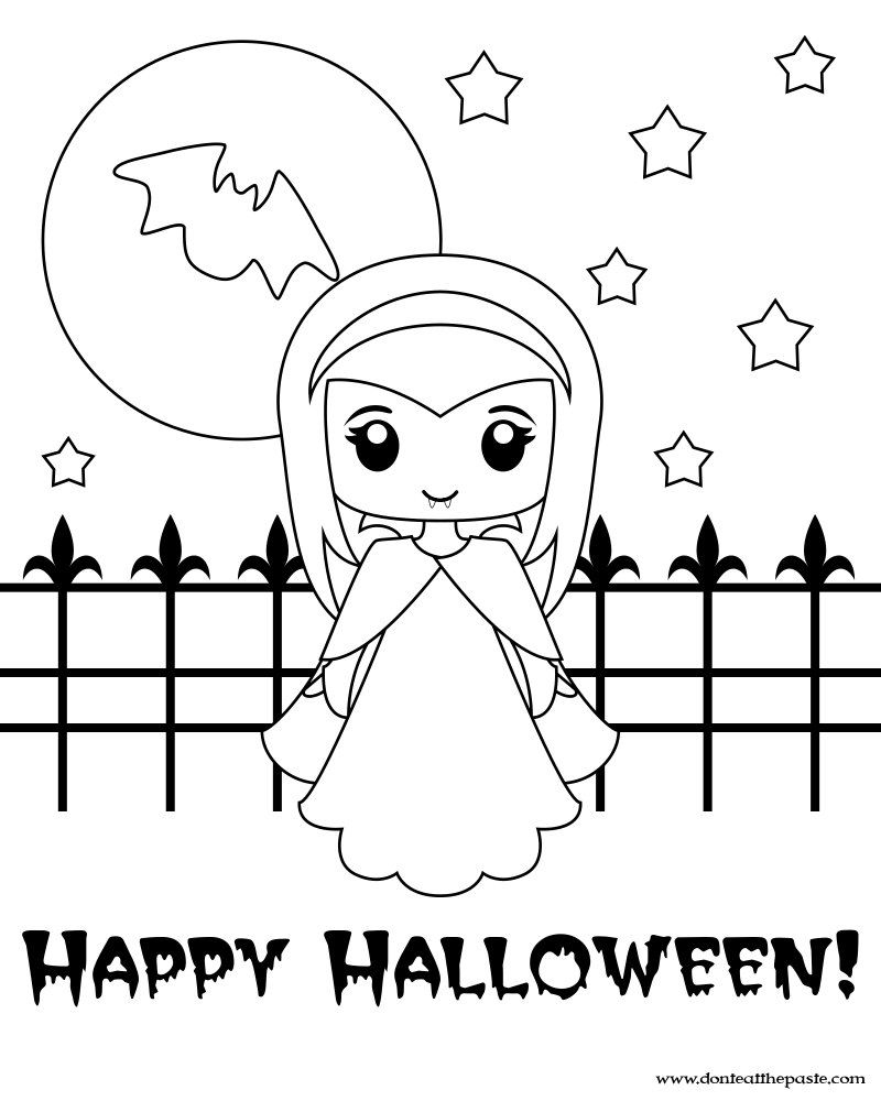 Cute Little Vampire Printable Box And Coloring Page Halloween