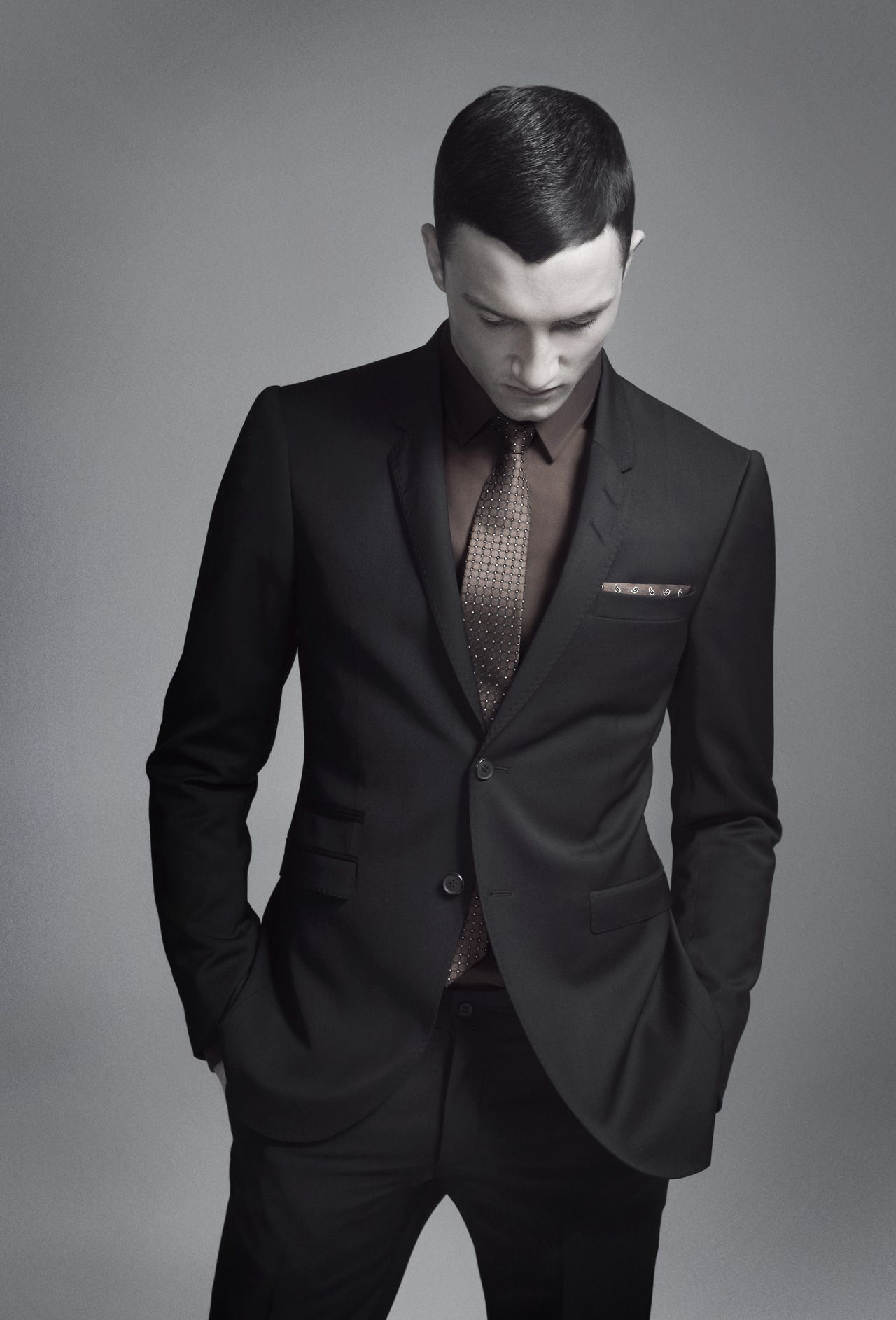 dark grey suit and brown shirt. :) | Styling Men through the eyes ...