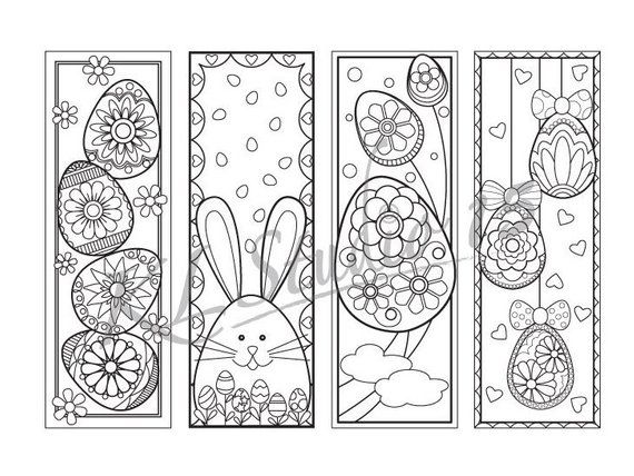 Easter Coloring Bookmarks Page Instant Download Relax Mandala