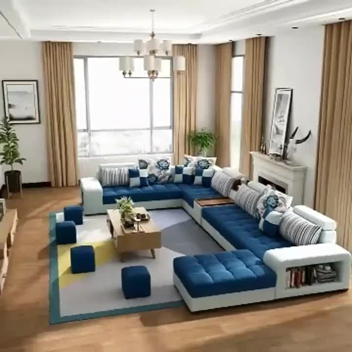 Hot Selling Cheap Modern Fabric Sofa Set Living Room Furniture Fabric U Shape Sleeping Sectionals  (Blue Set)