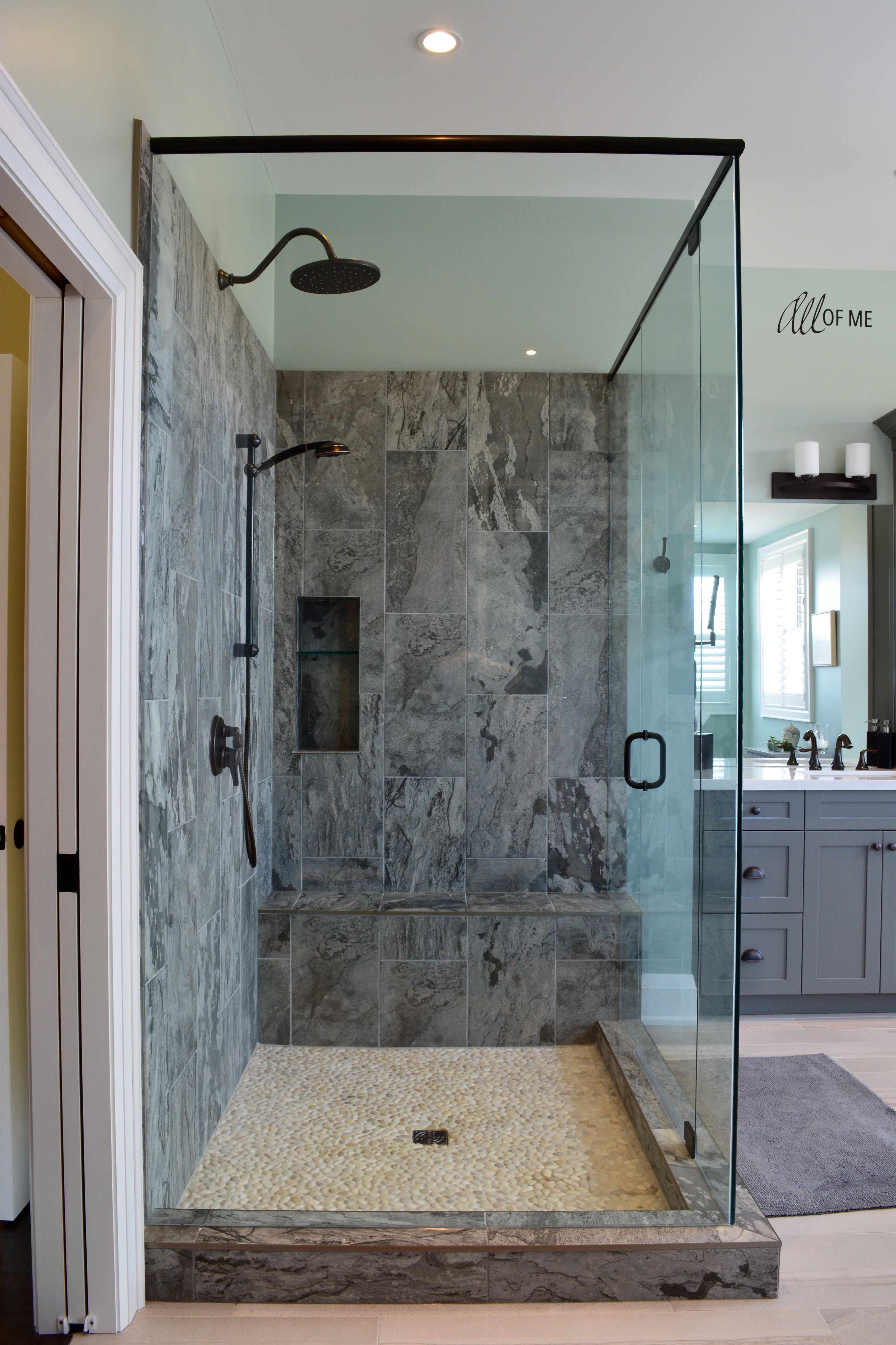 Master Bathroom with Grey Shaker Vanity Porcelain Tile Pebble