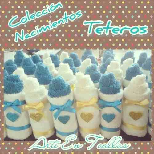 recuerditos baby shower nacimiento teteros hechos en toallas