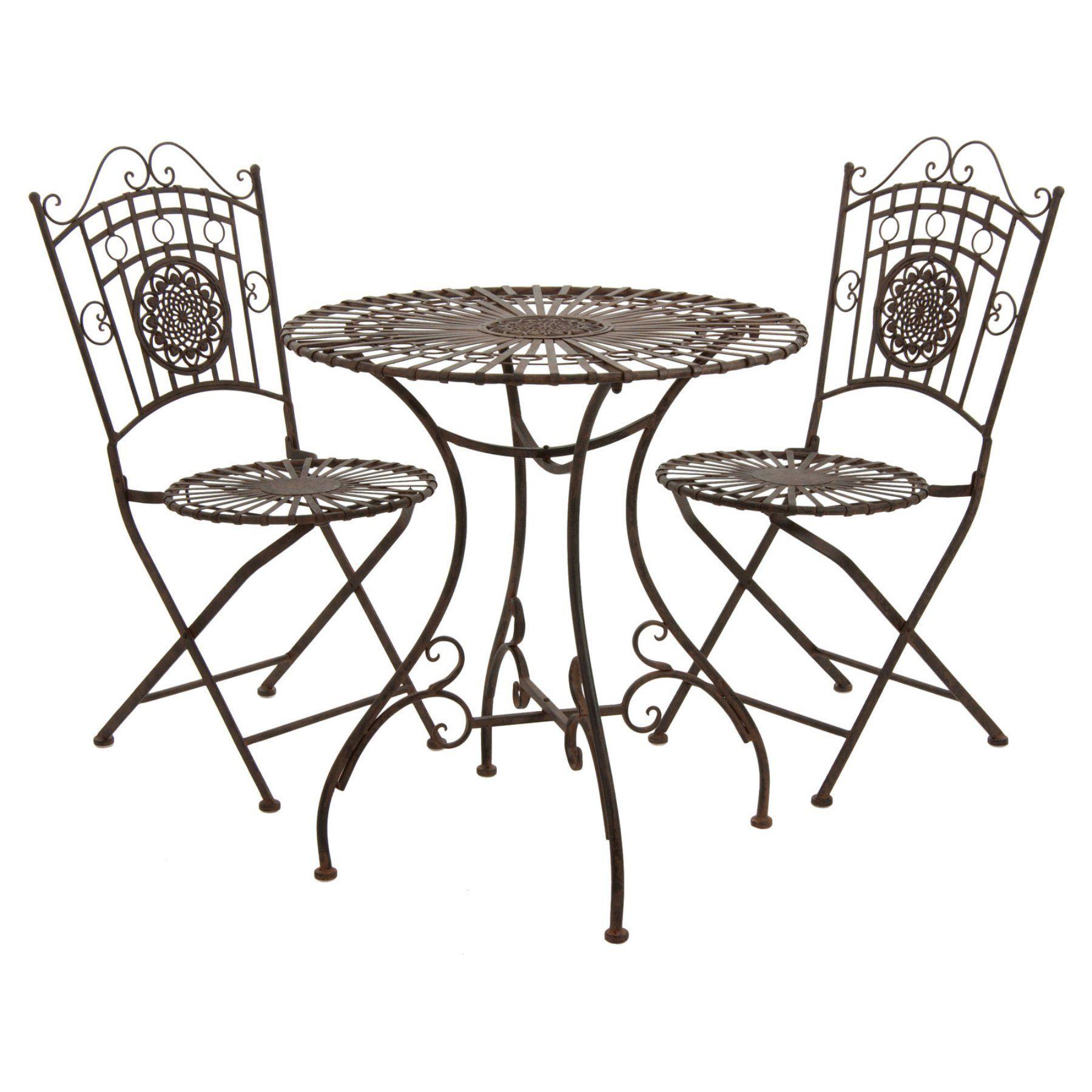 Outdoor Oriental Furniture Rustic Wrought Iron Patio Bistro Set - GF ...