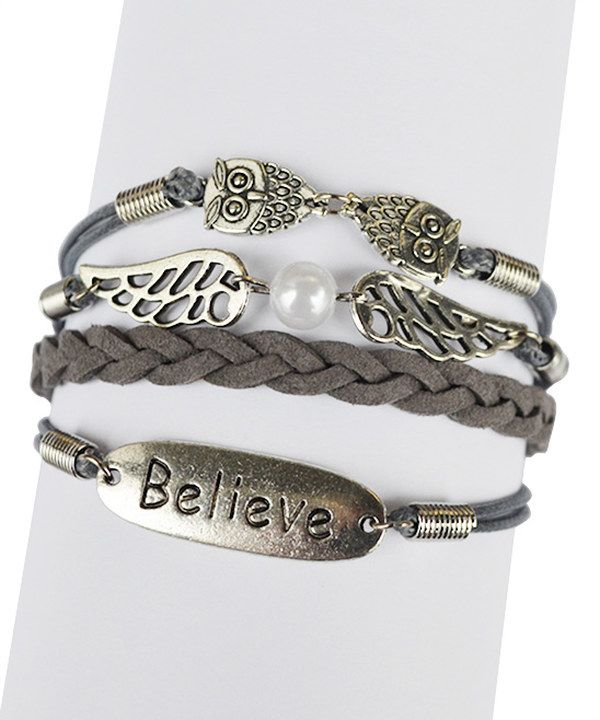 Look at this Gray 'Believe' Owl & Wing Braided Leather Bracelet on #zulily today!