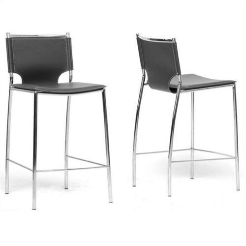Atlin Designs 26 Leather Counter Stool In Black Set Of 2