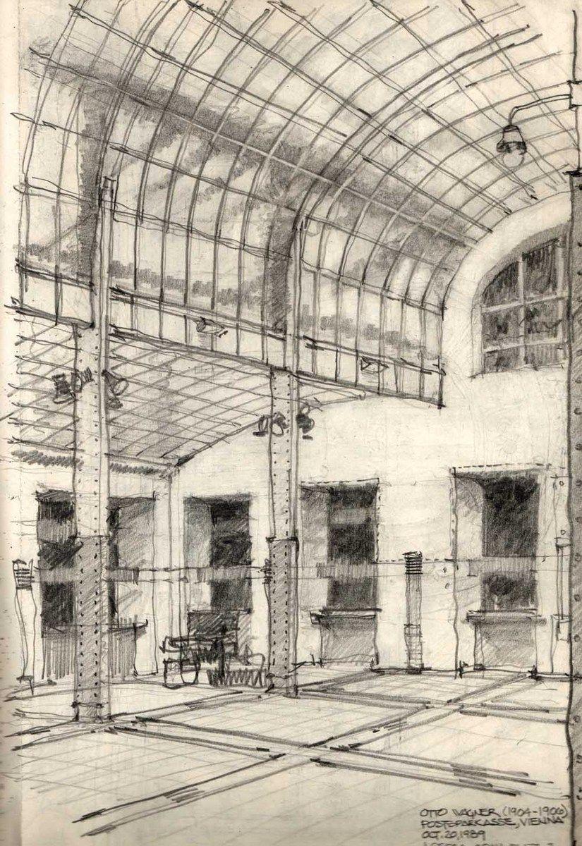 Otto Wagner S Postsparkasse Vienna Sketch Modernism Modern