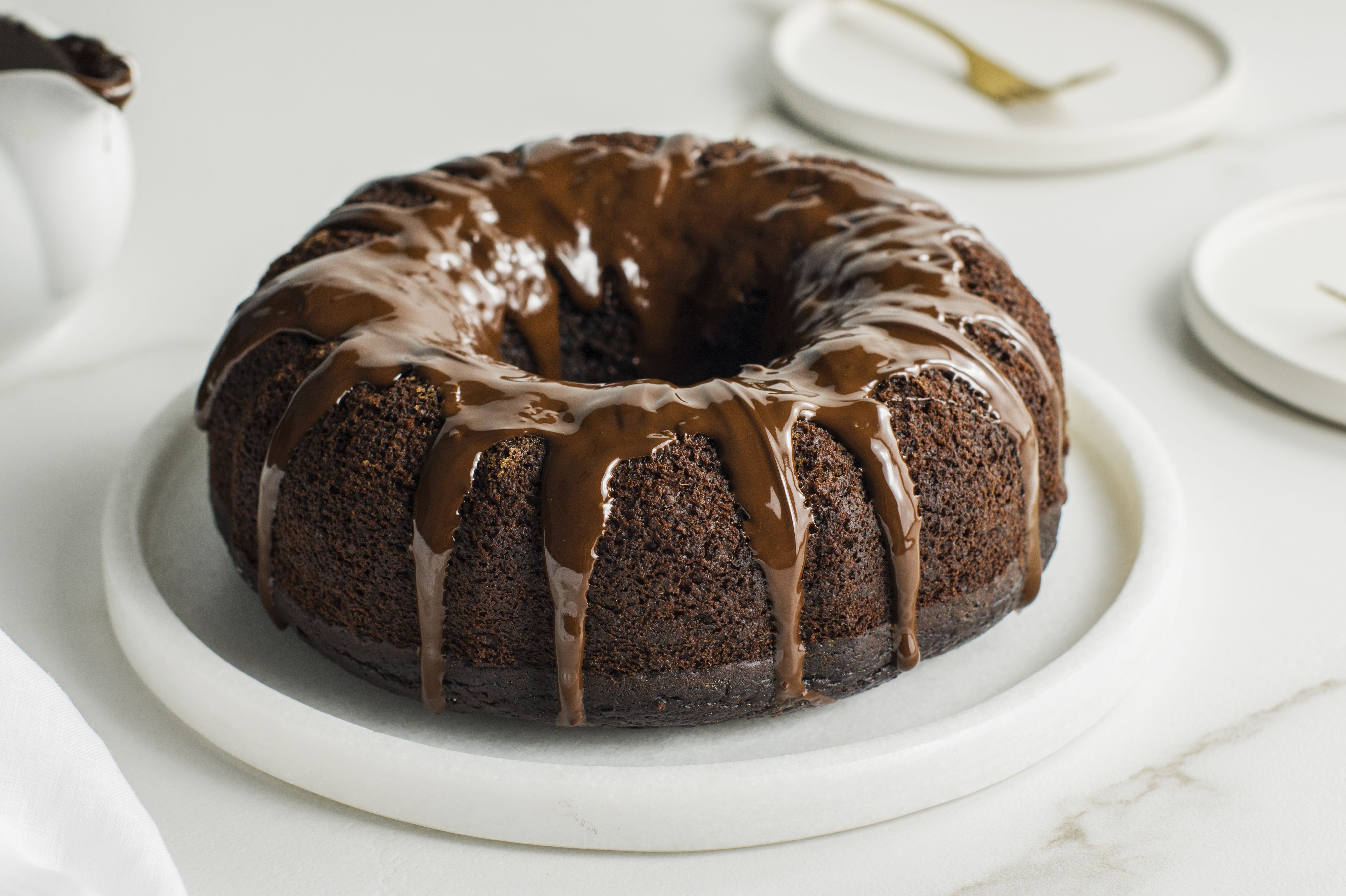 This decadent chocolate pumpkin bundt cake is completely