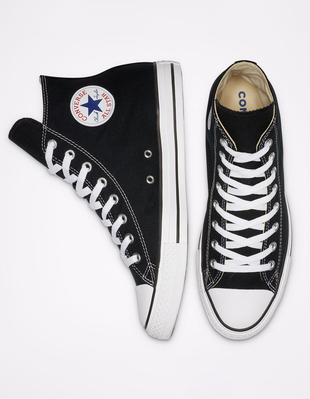 Classic Chucks! Converse Chuck Taylor All Star High Top black shoes. Canvas upper. Padded insole. Rubber toe cap. Vulcanized rubber outsole. Converse All Star heel badge. Converse All Star logo on inside of ankle. Imported.