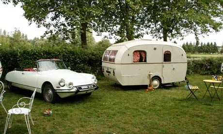 Vintage Citroen & vintage Willerby. inventive ideas. The drain board tilts upwards so the water runs away, the crockery drawer has a large spring so nothing breaks when the caravan drives over a bump, and the wardrobe door folds out to close off half the caravan, creating an intimate bedroom. The dining table folds away, and if you pull a metal ring, the floor lifts up to reveal an enamel bathtub. Well, not really a tub, more a basin where you can squat while your partner pours water from…
