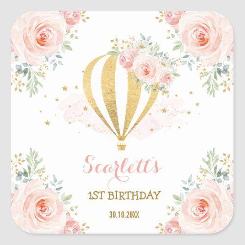 Girly Hot Air Balloon Blush Pink Floral Birthday Square Sticker | Zazzle.com