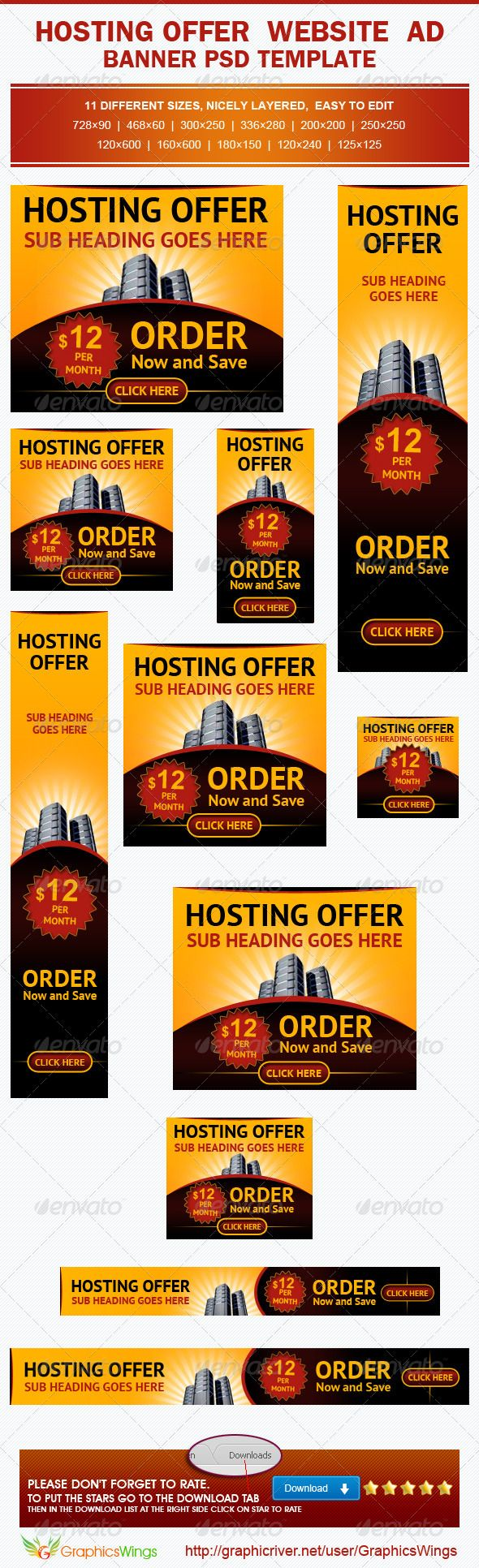 hosting offer banner ad template advertising affiliate hosting offer banner ad template banners ads web elements