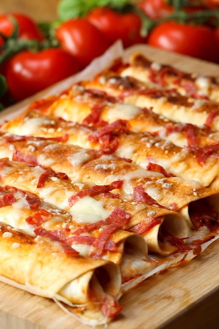 Garlic Butter Pizza Taquitos #easymexicanfoodrecipes