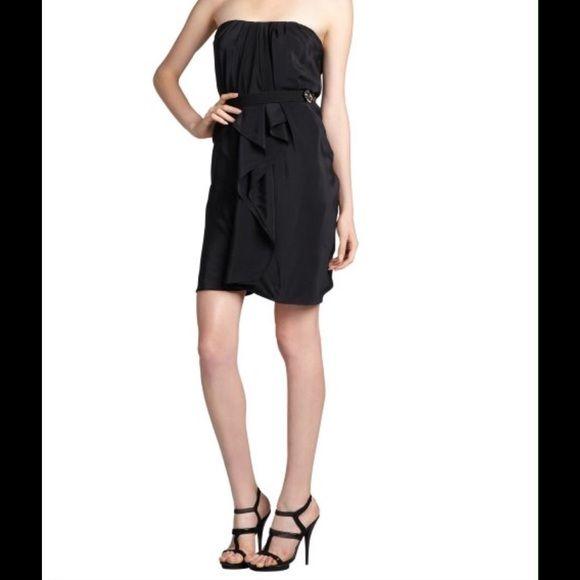 Cute Bcbgmaxazria Strapless Black Tail Dress L New